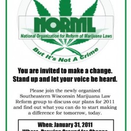 Southeastern Wisconsin marijuana activists set to meet on January 31, 2011.