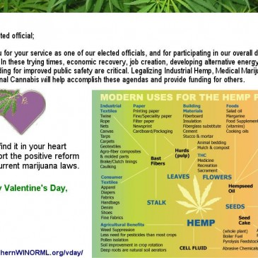 NORML Valentine's Day Card asks legislators to find it in their hearts to support marijuana reform.