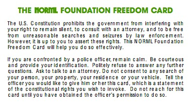 THE NORML FOUNDATION FREEDOM CARD