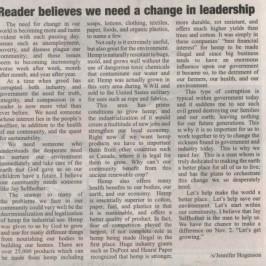 Reader believes we need a change in leadership