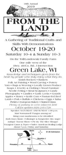 2019 From the Land Festival in Green Lake Promotional Flyer
