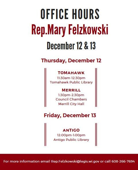 Rep. Mary Felzkowski Dec 2019 Tomahawk, Merrill and Antigo Meetings